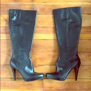 High Heels Black Leather Boots